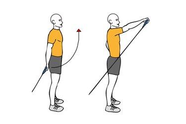 Elevación frontal de un hombro con cable-polea de pie