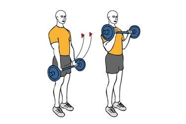 Curl de biceps con barra agarre prono