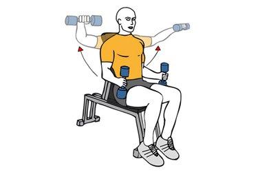 Elevacion lateral de hombros con mancuernas sentado en banco inclinado