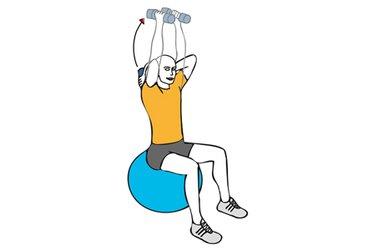 Extension de triceps con mancuernas sentado en pelota de pilates
