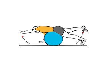 Extensión de pierna y brazo sobre pelota de pilates
