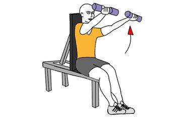Elevación frontal de hombros con mancuernas sentado agarre en supinación
