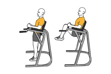 Flexión de caderas en maquina de paralelas