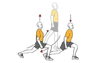Salto vertical desde zancada y cruzando piernas