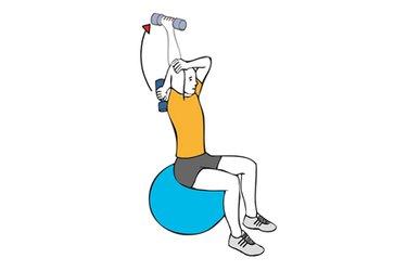 Extension de triceps con mancuerna sentado en pelota de pilates
