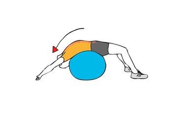Estiramiento de abdominales tumbado sobre pelota de pilates