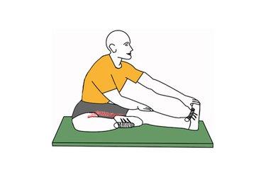 Estiramiento de aducctores una pierna estirada la otra flexionada