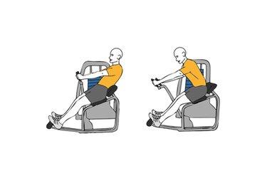 Encogimientos en maquina abdominales brazos estirados