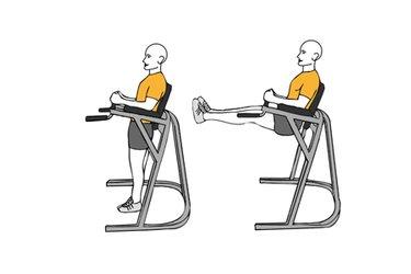 Flexión de caderas piernas estiradas en maquina de paralelas