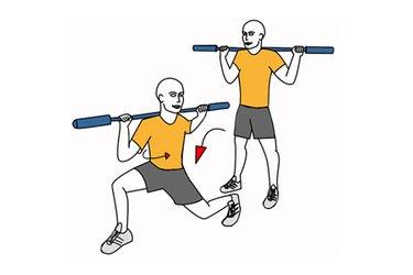 Zancada adelante con barra y giro de cintura