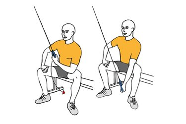 Extensión de triceps con cable-polea apoyo en el muslo