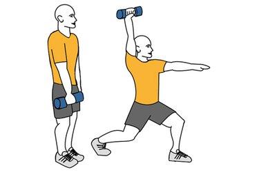 Zancada adelante y extension de brazo en vertical