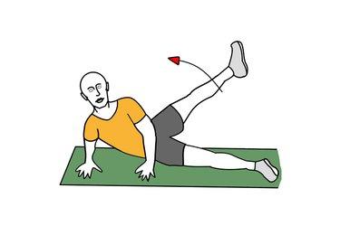 Abducción alta de una pierna recostado en el suelo