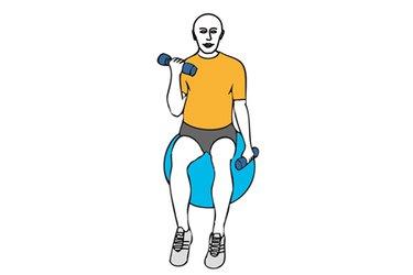 Curl de biceps alterno con mancuernas con giro sobre pelota de pilates