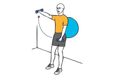 Elevacion frontal de hombros con mancuernas alterno