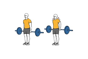 Encogimientos de hombros con barra por detrás