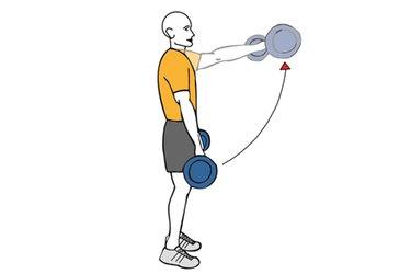 Elevación frontal de hombros con barra de pie
