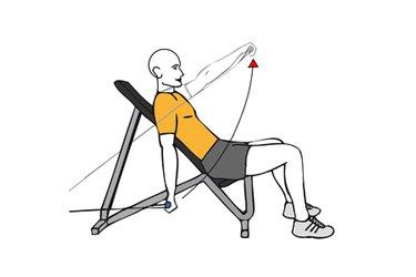 Elevación frontal de hombros con cable-polea sentado en banco inclinado