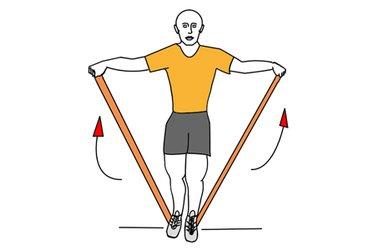Aperturas de hombros con banda elastica de pie