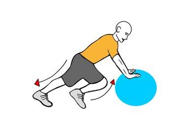 Elevación alterna de rodillas al apoyado en pelota de pilates