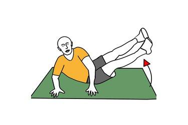 Flexión de tronco y de caderas en apoyo lateral