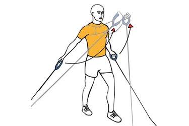 Elevación frontal de hombros con cable-polea