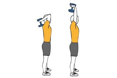 Extensión de triceps con una mancuerna de pie