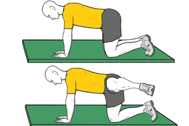 Abducción con pierna flexionada en cuadrupedia