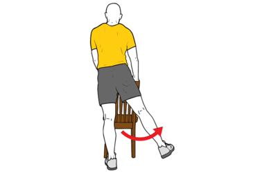 Abduccion de cadera con apoyo en silla