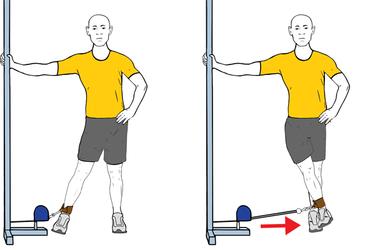 Aducción de una pierna con cable-polea de pie