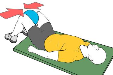 Aducctor isométrico con pelota rodillas flexionadas
