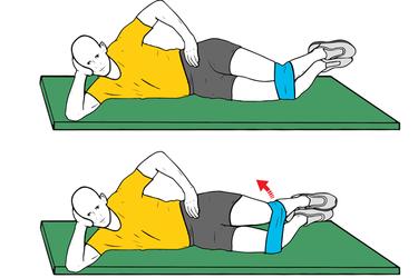 Almeja o abducción de cadera con mini banda