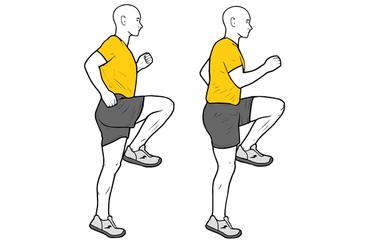 Elevación de rodillas o skipping