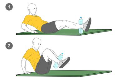 Contracción abdominal con botella de agua