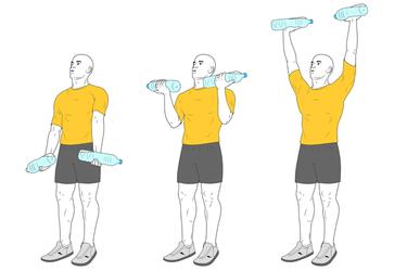 Curl de biceps y press de hombros con botellas