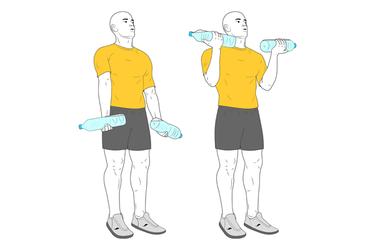 Curl de biceps con botellas