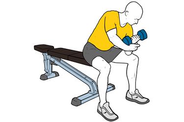 Curl de biceps excéntrico con mancuerna apoyo en el muslo