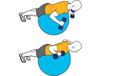 Ejercicio W o Elevación frontal de mancuernas sobre pelota suiza