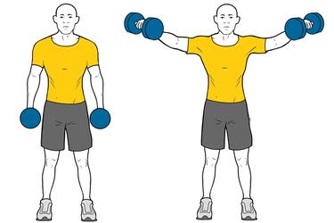 Elevacion lateral de hombros con mancuernas