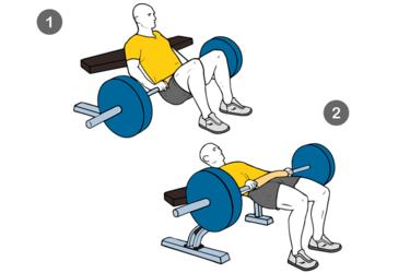 Empuje de caderas con barra apoyo en banco