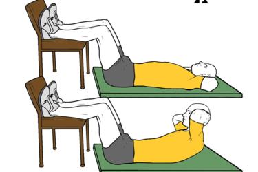 Encogimientos abdominales con las rodillas flexionadas y apoyadas