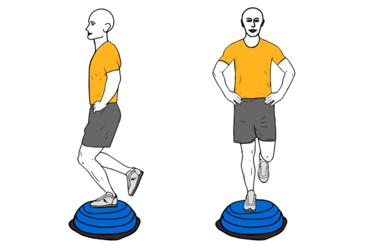 Equilibrio a una pierna sobre bosu