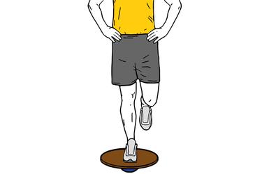 Equilibrio a una pierna sobre tabla de equilibrio