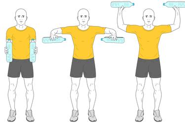 Aperturas y rotación de hombros con botellas