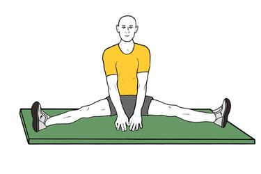 Estiramiento de aductor sentado piernas abiertas