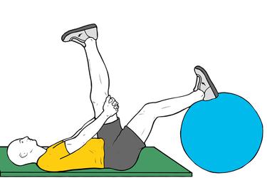 Estiramiento femoral con pelota pilates