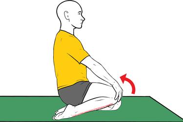 Estiramiento de tibial anterior de rodillas