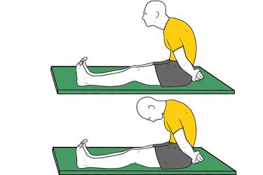 Estiramiento de nervio ciático sentado con piernas estiradas