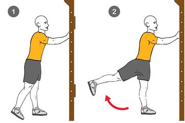 Extensión de cadera de pie con pierna estirada