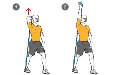 Extensión de triceps de pie con banda elástica